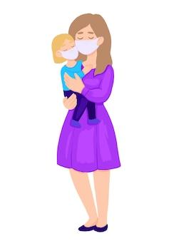 Nowy koronawirus, kobieta i dziecko w medycznych maskach na twarz.