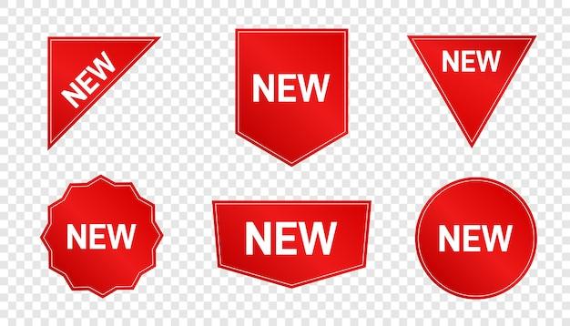 Nowy nabytek. specjalne etykiety produktów, naklejki i znaczki. nowe oferty kolekcji.