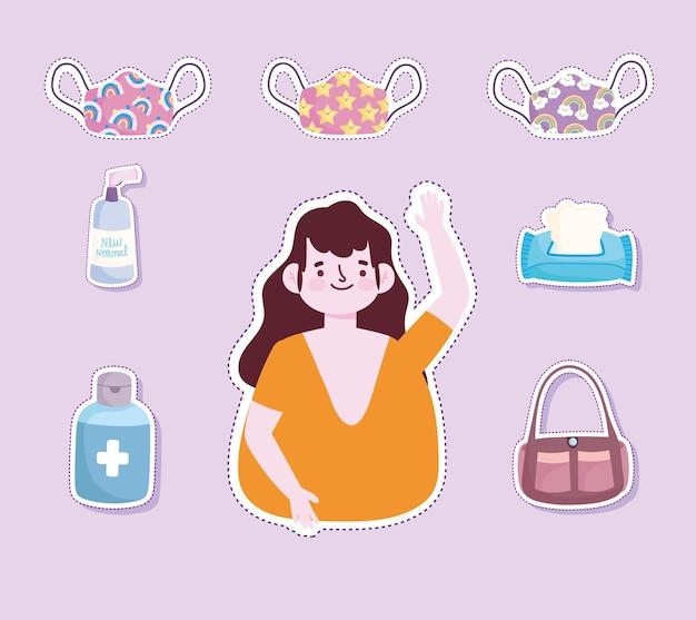 Nowy normalny styl życia, kobieta maski papierowe naklejki alkoholowe w stylu kreskówki