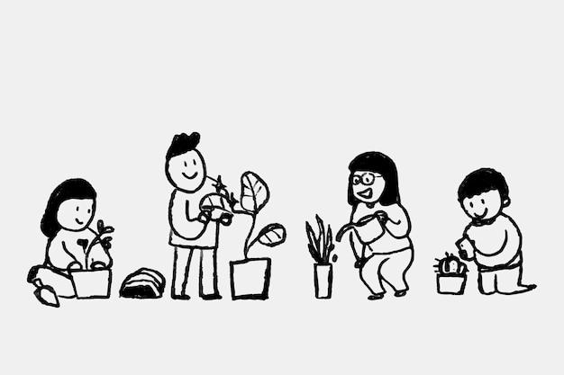 Nowy Normalny Wektor Doodle Hobby, Z Rodzicem Roślin Darmowych Wektorów