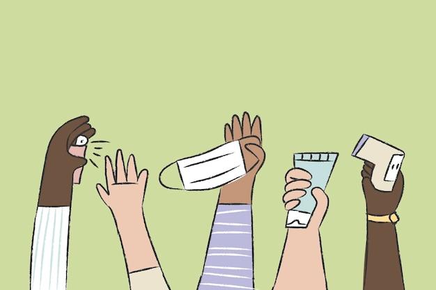 Nowy normalny wektor doodle, koncepcja higieny osobistej