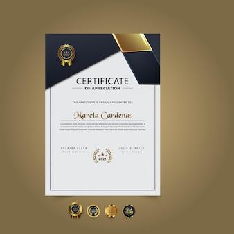 Nowy nowoczesny szablon certyfikatu projekt premium