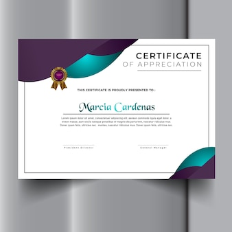 Nowy nowoczesny szablon certyfikatu