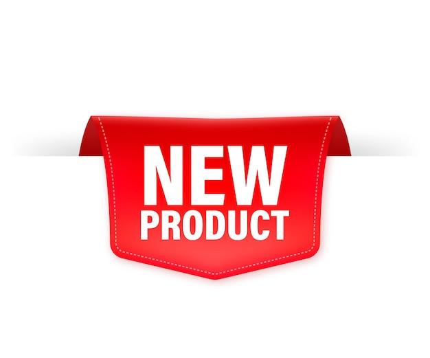 Nowy produkt czerwoną wstążką na białym tle ilustracja.