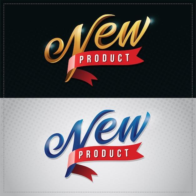 Nowy produkt wektor premium ręka napis ilustracja