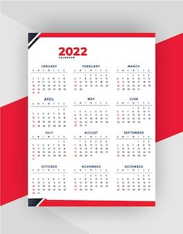 Nowy profesjonalny szablon projektu kalendarza 2022