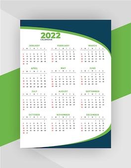 Nowy profesjonalny szablon projektu kalendarza biznesowego 2022