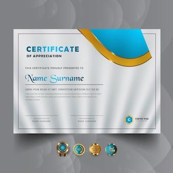 Nowy projekt abstrakcyjnego szablonu certyfikatu nagrody
