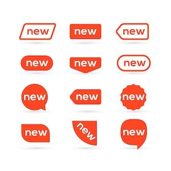 Nowy projekt etykiety płaskiej naklejki. nowa etykieta promocyjna na białym tle dla reklamy. ikona nowy znak dla rynku.