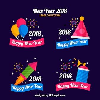 Nowy rok 2018 kolekcji etykiet na fioletowym tle