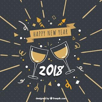Nowy rok 2018 rocznika tle z kubkami