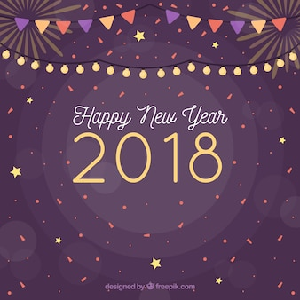 Nowy rok 2018 tło z konfetti i dekoracji