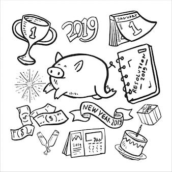 Nowy rok 2019 doodle zestaw ikon