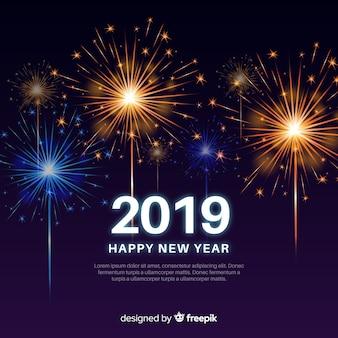 Nowy rok 2019 kompozycji z fajerwerkami