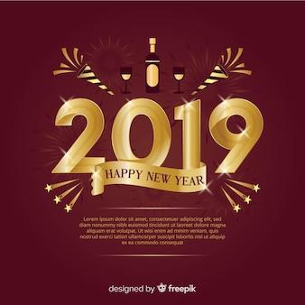 Nowy rok 2019 kompozycji ze złotym stylu