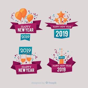 Nowy rok 2019 zestaw etykiet