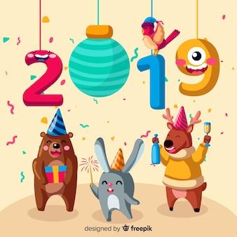 Nowy rok 2019 zwierząt tło