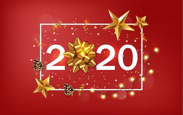 Nowy rok 2020 baner ze złotymi gwiazdami i wstążki