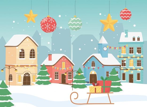 Nowy rok 2020 kartkę z życzeniami wiejskie domy sanki prezenty śnieżne kule i gwiazdy