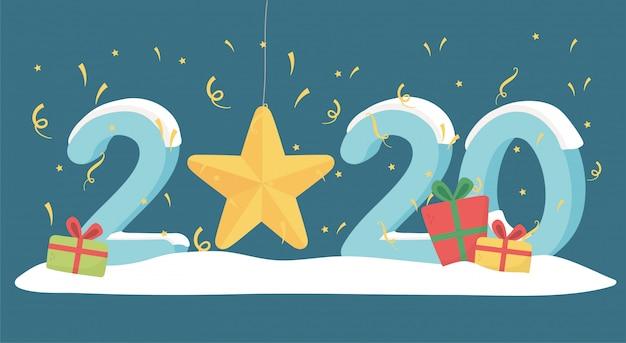 Nowy rok 2020 kartkę z życzeniami złote gwiazdy konfetti prezenty