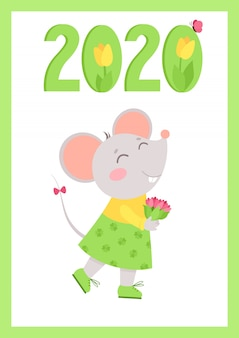 Nowy rok 2020 płaski plakat z szablonem myszy.