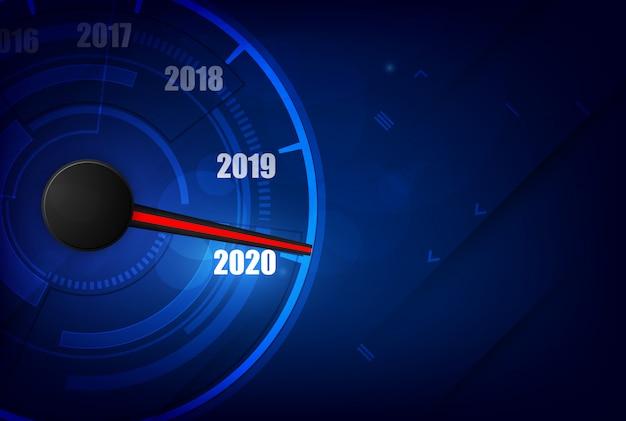 Nowy rok 2020 prędkościomierza samochodu, czerwony wskaźnik na czarnym tle rozmycie