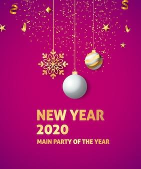 Nowy rok 2020 świąteczny baner