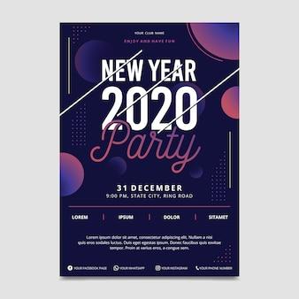 Nowy rok 2020 szablon ulotki partii w płaskiej konstrukcji