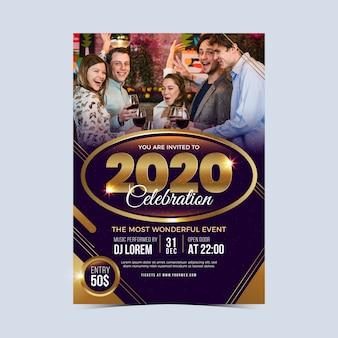 Nowy rok 2020 szablon ulotki partii ze zdjęciem