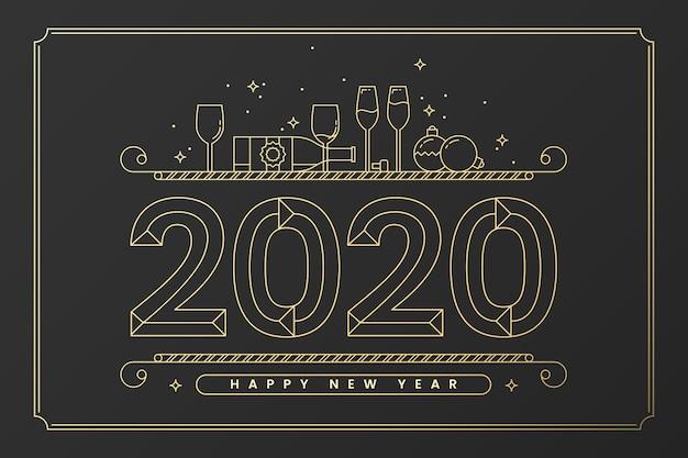 Nowy rok 2020 tło w stylu konspektu