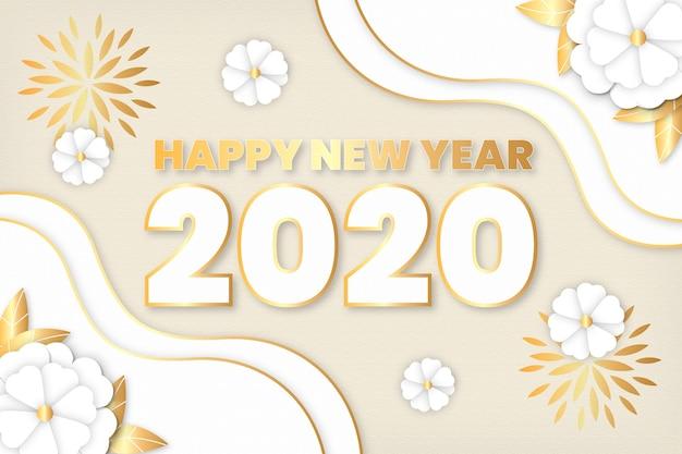 Nowy rok 2020 tło w stylu papieru