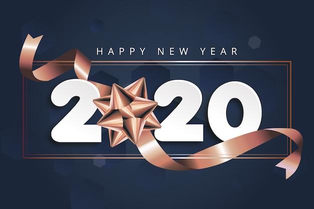Nowy rok 2020 tło z kokardą