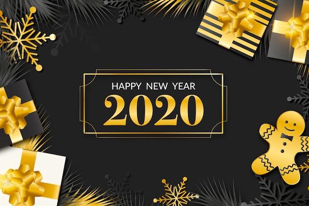 Nowy rok 2020 tło z realistyczną złotą dekoracją