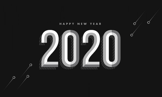 Nowy rok 2020 vintage ciemnym tle