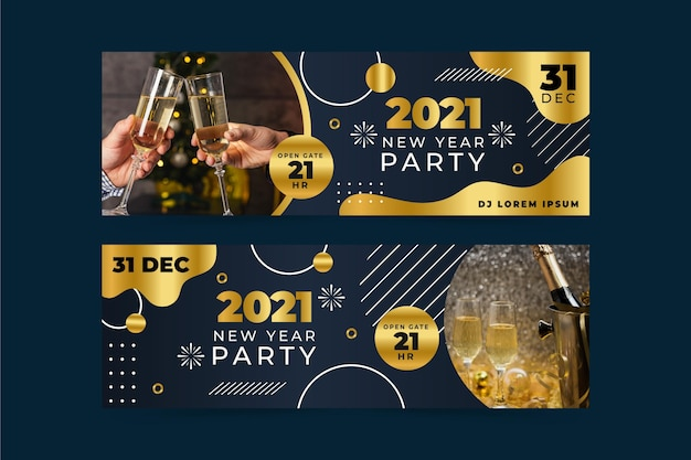 Nowy rok 2021 banery imprezowe ze zdjęciem