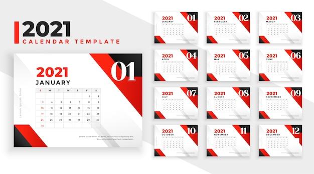 Nowy rok 2021 czerwony i czarny geometryczny szablon kalendarza