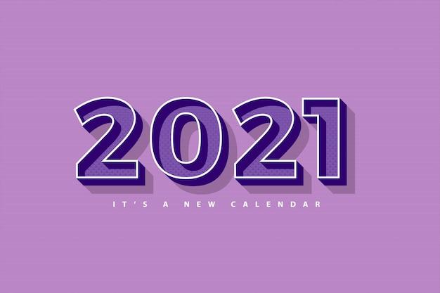 Nowy rok 2021 kalendarz, ilustracja wakacje szablon retro fioletowe kolorowe tło
