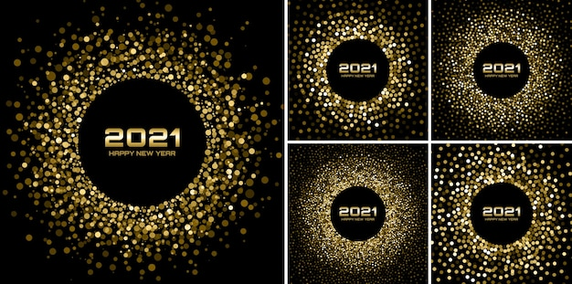 Nowy rok 2021 nocny zestaw imprezowy. kartki z życzeniami. złote konfetti z papieru brokatowego. lśniące złote świąteczne światełka. życzenia szczęśliwego nowego roku świecące koło ramki. boże narodzenie kolekcja złota. wektor