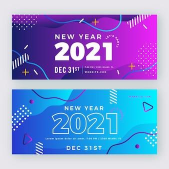 Nowy rok 2021 płaskie banery imprezowe