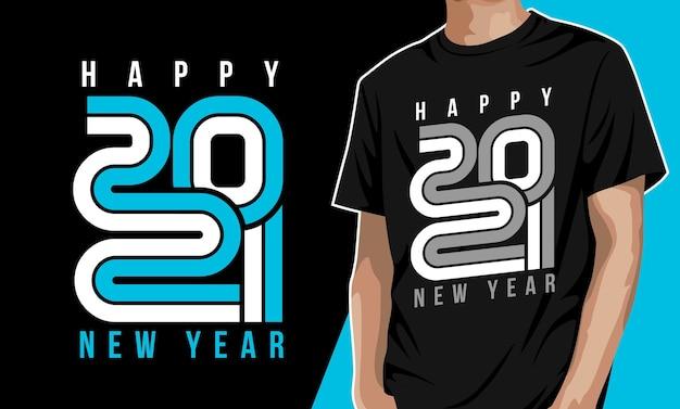 Nowy rok 2021 projekt tshirt typografii