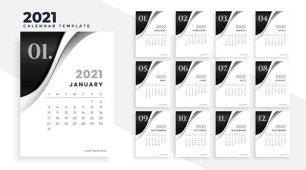 Nowy rok 2021 stylowy szablon kalendarza