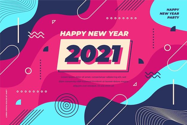 Nowy rok 2021 tło w płaskiej konstrukcji