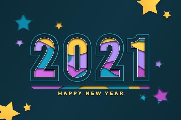 Nowy rok 2021 tło w stylu papieru