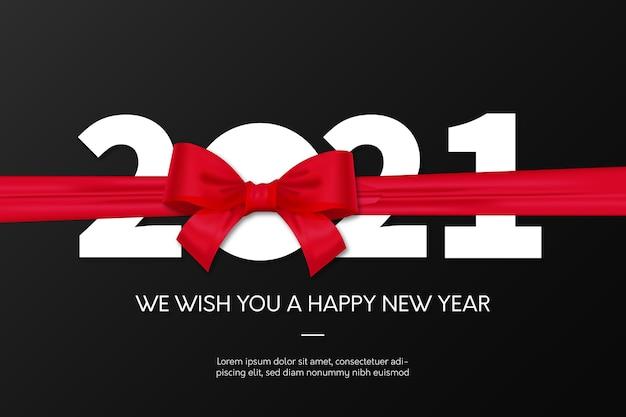 Nowy rok 2021 tło z czerwoną wstążką