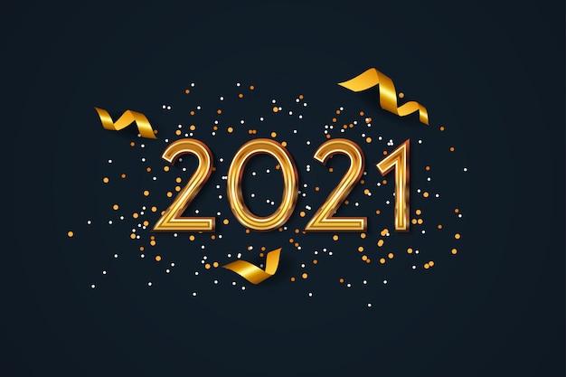 Nowy rok 2021 tło z złotym konfetti