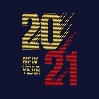 Nowy rok 2021 typografia