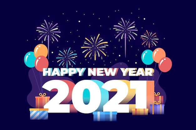 Nowy rok 2021 w płaskiej konstrukcji