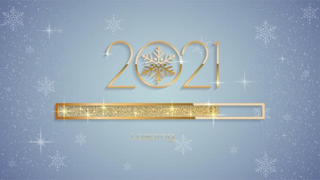 Nowy rok 2021 z jasnym błyszczącym paskiem postępu ładowania, złotym brokatem i błyskami premium wektorów