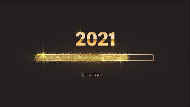Nowy rok 2021 z jasnym błyszczącym paskiem postępu ładowania, złotym brokatem i błyskami