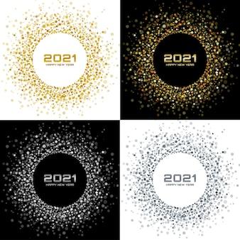 Nowy rok 2021 zestaw tła. kartki z życzeniami. złote konfetti z papieru brokatowego. świecące ramki koło.